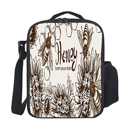 SARA NELL Kids Lunch Backpack Insulated Honey Bees And Sunflowers Lunch Bag Large Lunch Boxes Cooler Meal Prep Lunch Tote With Shoulder Strap For Boys Girls Teens Women Adults