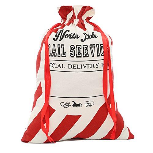 lo lord Santa Sack Large Christmas Santa Bag Burlap Gift Bag Both Sides Printed for Personlized]()