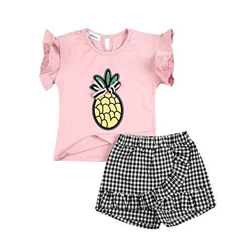 BOBORA 3PCS Toddler Kids Baby Girls Flower Print Tassel Short Sleeve Tee +Shorts Pants + Matching Headband Outfit Set