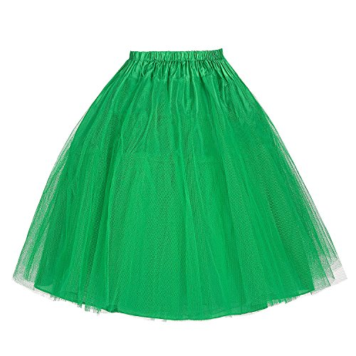 1950s Vintage Petticoat 3 Layer Tulle Netting (Green,XL)