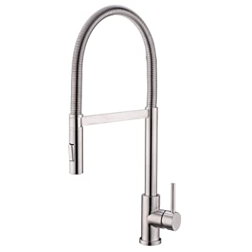 Hanebath Brushed Nickel Kitchen Sink Faucet High Arc Single Level