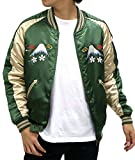 Unlimited Ability Men's Souvenir Jacket Reversible Sukajan Embroidered Bomber Jacket (Green, Large)