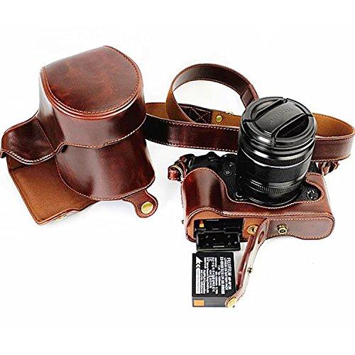 First2savvv XJD-XT1-HH01G14 Premium Qualität braun Ganzkörper- präzise Passform PU-Leder Kameratasche Fall Tasche Cover für Fujifilm Fuji X-T1 XT1 mit Anti verloren Seil dunkelbraun Kameratasche + 1xUV-Objektiv-Beutel c1Nxl