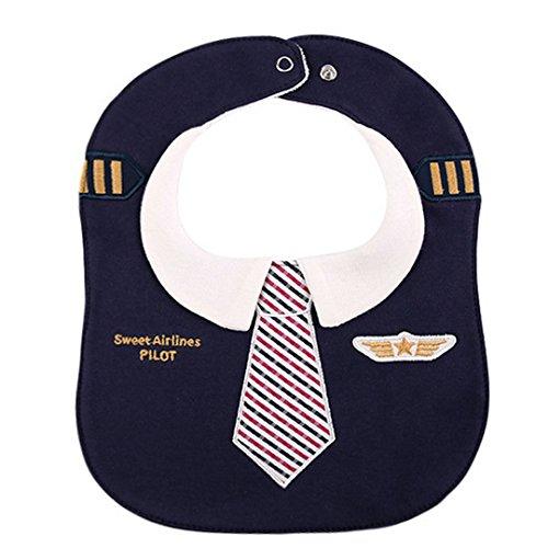 Aisa Infant Pilot Uniform Cotton Drool Baby Bib Absorbent Waterproof Toddler Burp Cloth Adjustable Snap Button Teething Pinny (Navy Blue)
