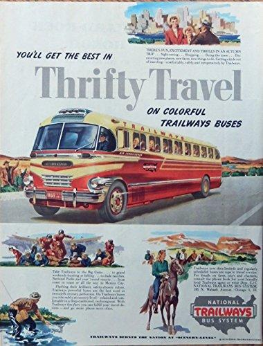 National Trailways Bus System, 40's vintage advertisement. Color Illustration, beautiful bus, original 1947 Magazine Art Trailways Bus