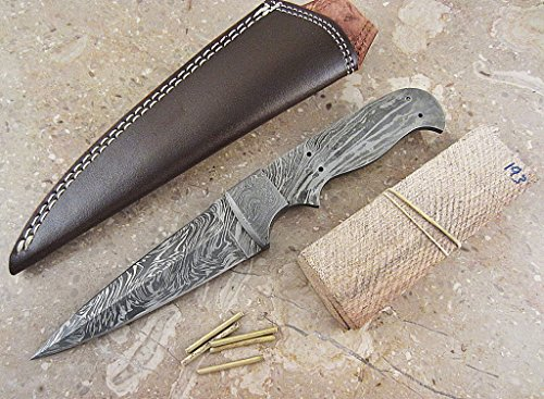 ColdLand Knives Damascus Knife Kit Custom Handmade Damascus Steel Full Tang Blank Blade with Brass Pins, Leather Sheath, Exotic Natural Wood Scales for Knife Making Supplies - Custom Blades Wood