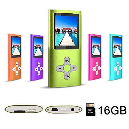 RHDTShop MP3 Player MP4 Player with a Internal 16GB Card, Rechargeable Battery, Portable Digital Music Player, Video Player, E-Book,Green