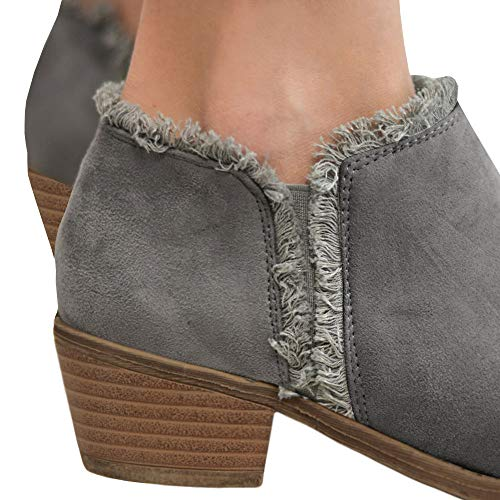 Fringe Heels Ladies Boots Grey Faux Fall Women's Ankle Booties Ivay Leather 7wzq85w