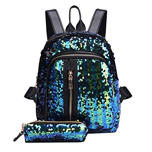 (Inverlee Fashion Girl Sequins School Bag Backpack Travel Shoulder Bag+Clutch Wallet (Sky Blue))