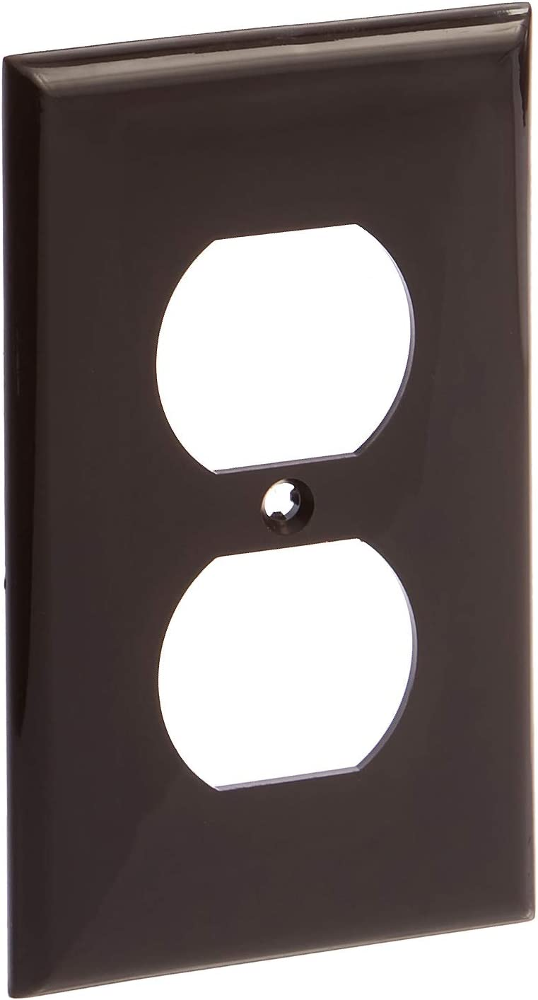 Leviton 80703 1-Gang Duplex Device Receptacle Wallplate, Standard Size, Thermoplastic Nylon, Device Mount, Brown, 20-Pack