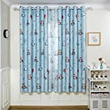 BGment 2 Panels,Owl Printed Curtains Room Darkening Metal Grommets Window Cloth for Infant Room,1Pair(Blue,52″Wx95″L) Review