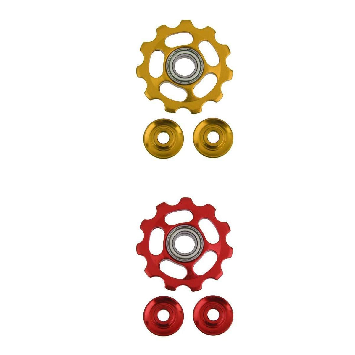 MagiDeal 2pcs 11T Bicycle Ceramic Bearing Jockey Wheel Pulley Roller Rear Derailleur Golden Red non-brand