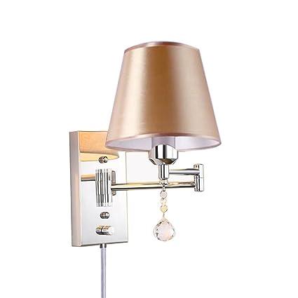Amazoncom Wall Sconce Plug In E27 Swing Arm Lamp Retro Living Room