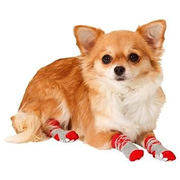Karlie Doggy Socks Perros Calcetines Juego de 4 – Rojo/Gris, para perros y