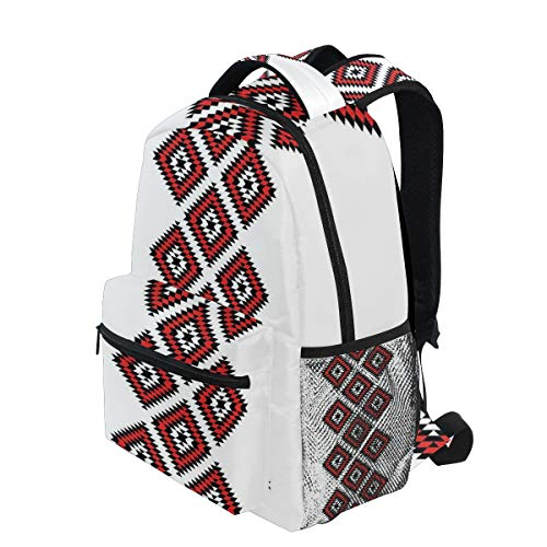 KVMV Native Design American Style Zig Zag Aztec Motifs with Ornaments Lightweight School Backpack Students College Bag Travel Hiking Camping Bags