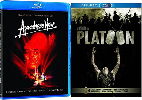 Apocalypse Now + Platoon Blu Ray 2 Pack War Movie Action Set (Apocalypse Now / Apocalypse Now: Redux) Francis Ford Coppola