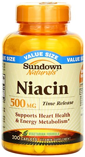 Sundown Naturals Niacin 500 mg Time Release Caplets 200 ea (Pack of 4) by Us Nutrition Inc