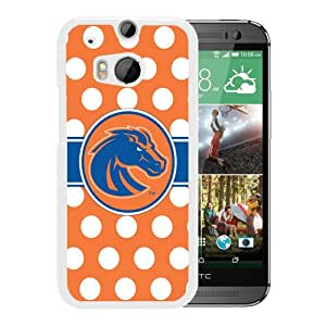 NCAA Boise State Broncos 13 White HTC ONE M8 Protective Phone Cover Case