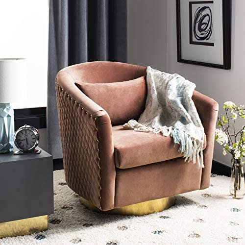 Deal of the week: Safavieh Couture Home Clara Glam Dusty Rose Pink Velvet Quilted Swivel Tub Chair