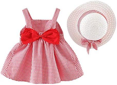 sunnymi Bekleidungssets für Baby Mädchen,0-3 Jahre Kleinkind Kind Baby Mädchen Plaid gedruckt Bogen Prinzessin Kleid + Hut Outfits Set Kleidung