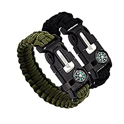 MAIBU Multifunctional Paracord Bracelet Survival Gear Kit with Embedded Compass, Fire Starter, Emergency Knife & Whistle - Quick Release Slim Buckle Design Hiking Gear(2 PC) by MAIBU