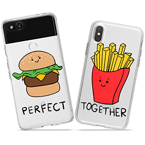 Wonder Wild Burger Fries Couple Case iPhone Xs Max X Xr 10 8 Plus 7 6s 6 SE 5s 5 TPU Clear Gift Apple Phone Cover Print Protective Double Pack Silicone Perfect Together Fastfood Matching Diet Pair ()