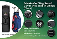 PALANKA Golf Bag Travel Cover with Built-In Wheels (Black) Heavy Duty Protective Fabric | Padded Top Club Head Coverage | Top Handle, Zippered Pockets, ID Tag