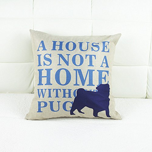 Luxbon-Machine-Washable-Cotton-Linen-Sofa-Couch-Chair-Throw-Pillowcase-Cushion-Cover-Decorative-Insert-Not-Included-Navy-Blue-Dog-A-House-Is-Not-A-Home-Without-A-Pug-Design-2