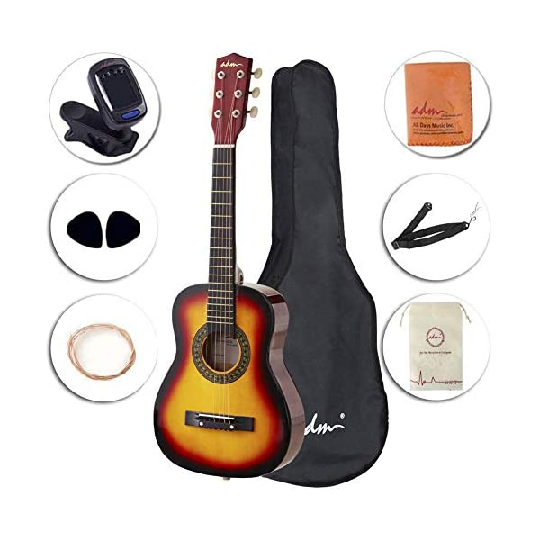 ADM Beginner Acoustic Guitar 30 Inch Steel Strings Wooden Guitar Bundle Kit with Carrying Bag & Accessories, Sunburst 51vCf2BGI L