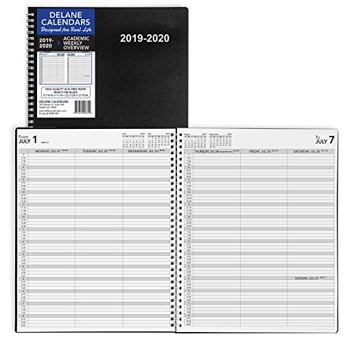 Appointment Book Appointment Books - 2019-2020 Academic Weekly Planner Appointment Book, 8.5 x 11 inches, Daily Hourly Planner, Black