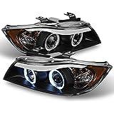 BMW E90 3-Series 4 Doors Sedan Black Bezel Halogen Type CCFL Halo Ring Eye Lid Projector Headlights