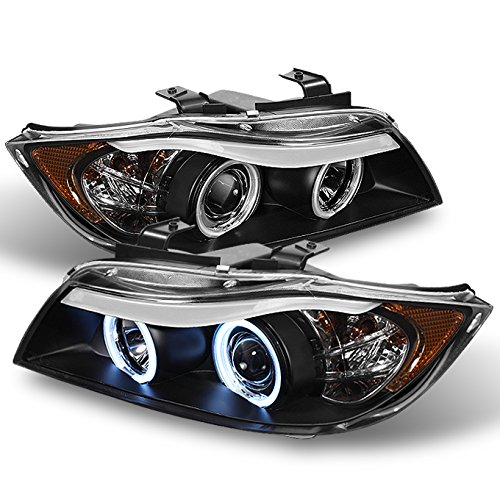 [CCFL Halo Ring] For 2006-2008 BMW E90 3-Series 4 DR Sedan Wagon Black Halogen Type Eye Lid Projector Headlights