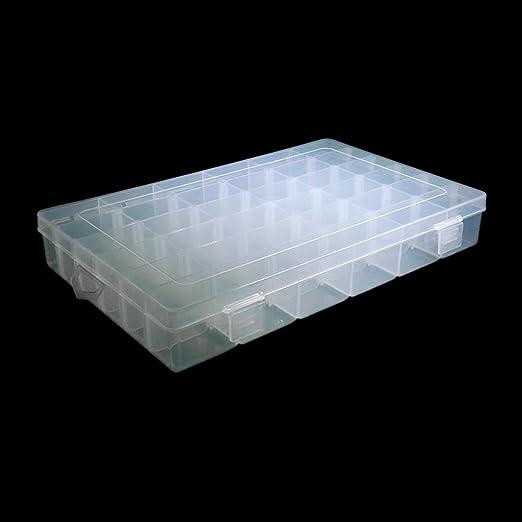 Amazon.com: eDealMax viajes anillos de la joyería DE 36 ranuras Ajustable Caja de almacenamiento caja de plástico organizador del envase Claro: Health ...