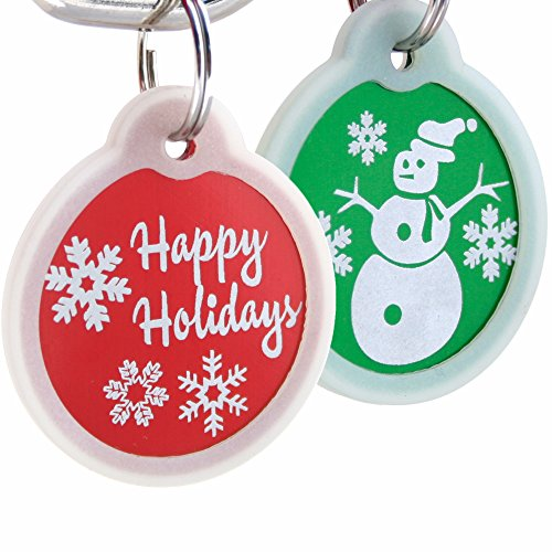 GoTags Christmas Dog Tag Personalized with 4 Lines of Custom Engraved Text, Holiday Dog Collar ID Tag Comes with Glow in The Dark Silencer to Protect Tag and Engraving, (Snowman, Green)