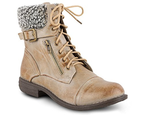 Twisted Women's Jamie Sherpa Cuff Combat Boot, PAIGE02 Taupe, Size ()
