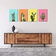 Americanflat Cactus Art Set por Lila + Lola - Juego de 4 lienzos envueltos 28 x 14 pulgadas