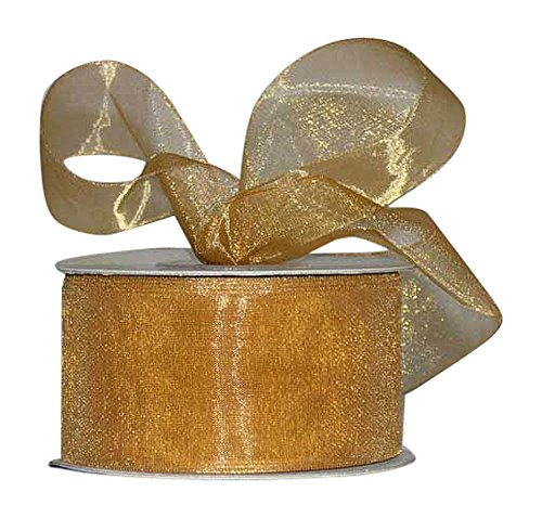 Ribbon Bazaar Sheer Organza 1-1/2 inch Old Gold 100 Yards 100% Nylon Ribbon