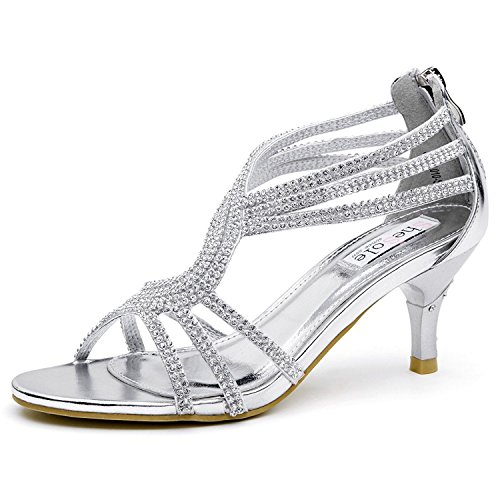 SheSole Women's Low Heel Dance Wedding Sandals Dress Shoes Silver US 6