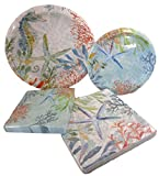 Beach Summer Time Party Pack- 2 Packs Paper Plates and 2 Packs Napkins (Blues and Greens - Seahorse and Starfish)