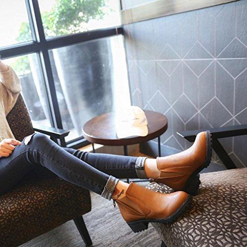 Donna Stivali Martin Boots Low Beauty Inverno Stivali Heels Stivaletti Neve Nuovo Cavaliere Marrone tacco con Top Pelliccia Stivali Invernali Stivali Snow Autunno EwrOOZ5qH