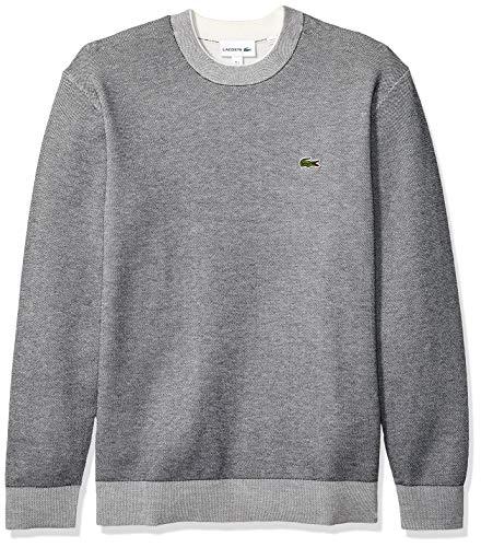 Lacoste Men's Long Sleeve BI-Colour Bird's Eye PIN Striped Sweater, Navy Blue/Flour, Small