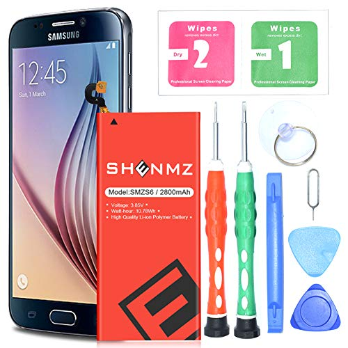 [Upgraded] Galaxy S6 Battery Replacement Kit, SHENMZ 2800mAh Internal Li-Polymer Replacement EB-BG920ABE Battery for Samsung Galaxy S6 G920V G920A G920T G920P with Tool Kit [24 Month -