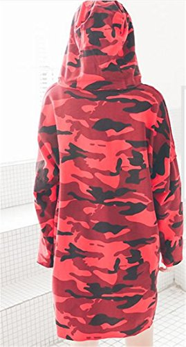 Manica Felpe Oversize Camouflage Abito T shirt Donne Felpe Lunga Casuali Rosso Cromoncent HBZxaSZ