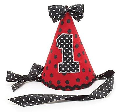 Ladybug 1st Birthday Party Hat 1 Red Black Polka Dot Fabric Ribbon Tie 7 Tall Amazonin Toys Games