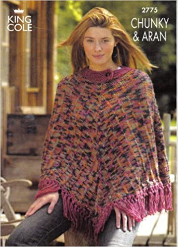 King Cole Ladies Aran Poncho And Chunky Poncho Knitting Pattern