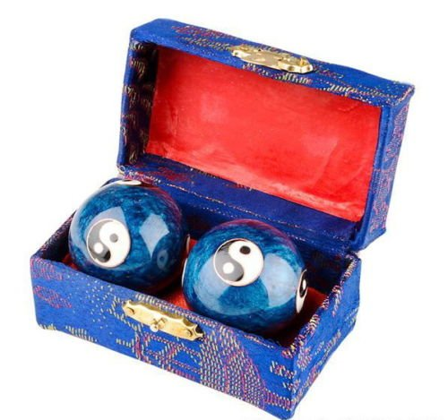 japanbargain s-3581 chinese health stress relieve hand exercise baoding balls, blue taichi