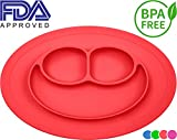 Bigear Smile Placemat,One piece Silicone Suction Placemat and plate for Kids,Toddlers and Babies (Red)