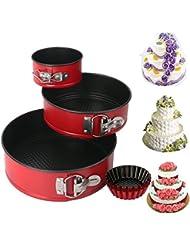 Springform Pan set, MCIRCO Nonstick Leakproof 3pcs(4/7/9) Cake Pan Bakeware Cheesecake Pan with 4pcs Egg Tart Mold (Set of 7pcs)