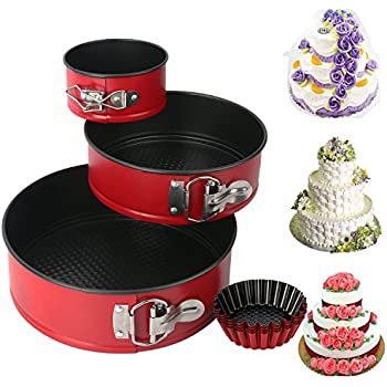 """Mcirco Nonstick Leakproof 3pcs(4""""/7""""/9"""") Springform Pan set, Cake Pan Bakeware Cheesecake Pan with 4pcs Egg Tart Mold"""
