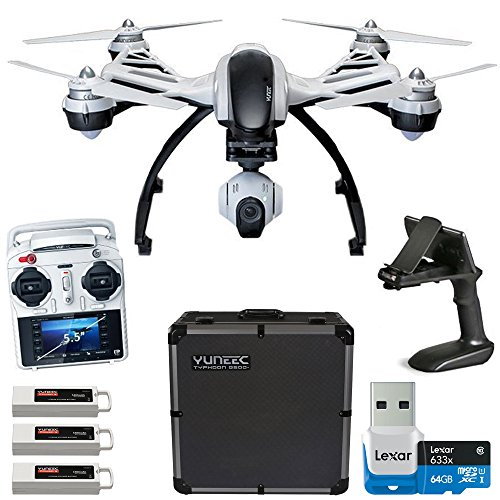 Yuneec-Q500-Typhoon-Quadcopter-Drone-w-3-Axis-Gimbal-Camera-Steady-Grip-Deluxe-Case-3-Batteries-and-Lexar-64GB-Card-Bundle
